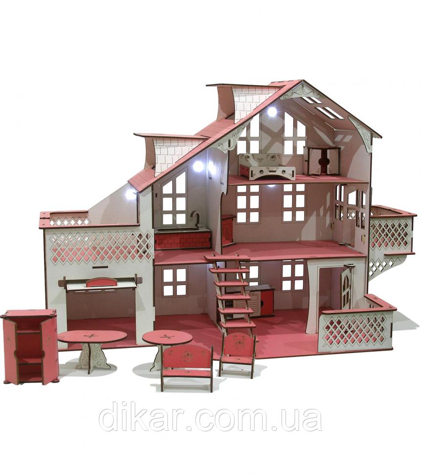 Кукольный дом большой 85х35х55 с гаражом и подсветкой В012