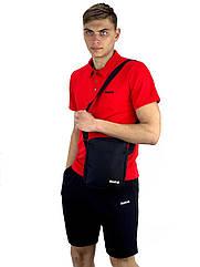 Комплект Футболка Polo+ Шорты+ Барсетка Reebok Реплика L Красно-черный KomRRed 1 3, КОД: 1676295