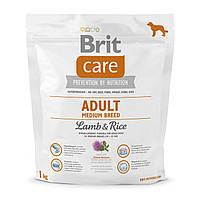 Сухой корм для взрослых собак средних пород (весом от 10 до 25 кг) Brit Care Adult Medium Breed Lamb & Rice 1