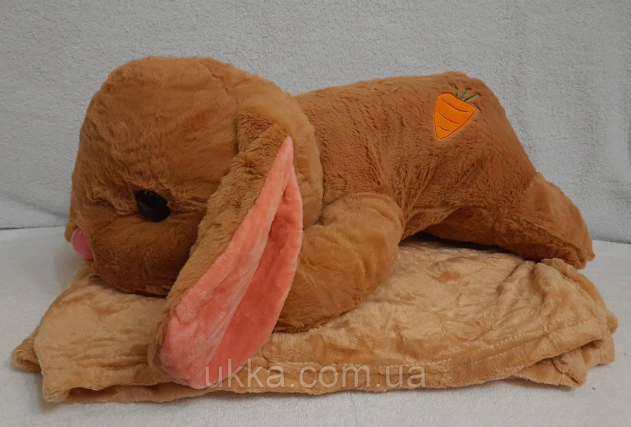 Игрушка плед кролик коричневый
