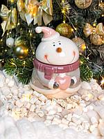 """Емкость для хранения сыпучих """"Пудрово-розовый снеговик»"""