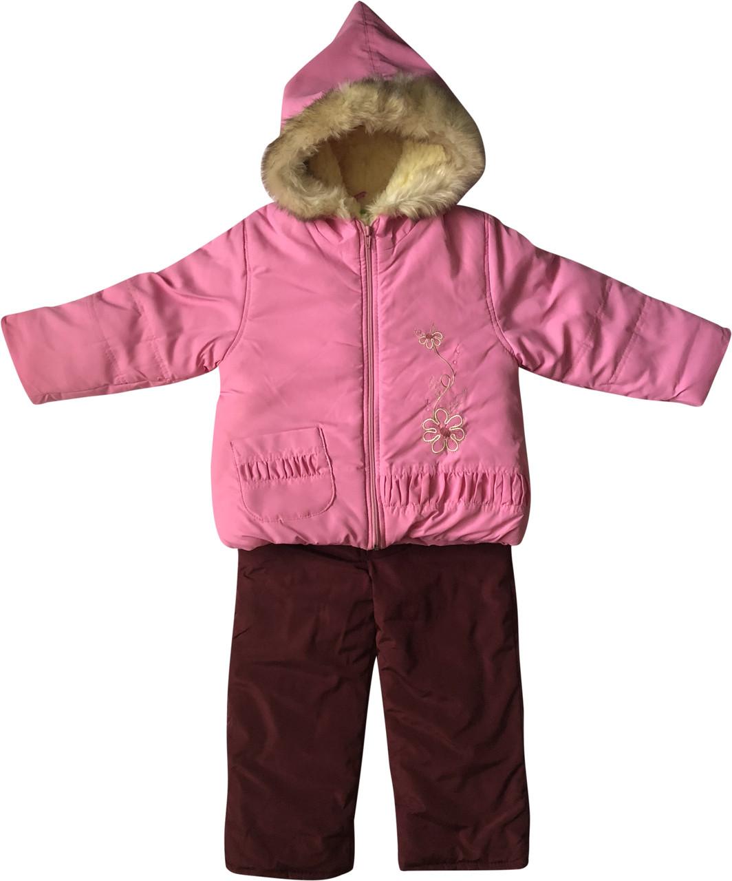 Детский зимний комбинезон на девочку рост 92 1,5-2 года для малышей детей раздельный розовый