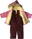 Детский зимний комбинезон на девочку рост 92 1,5-2 года для малышей детей раздельный розовый, фото 2
