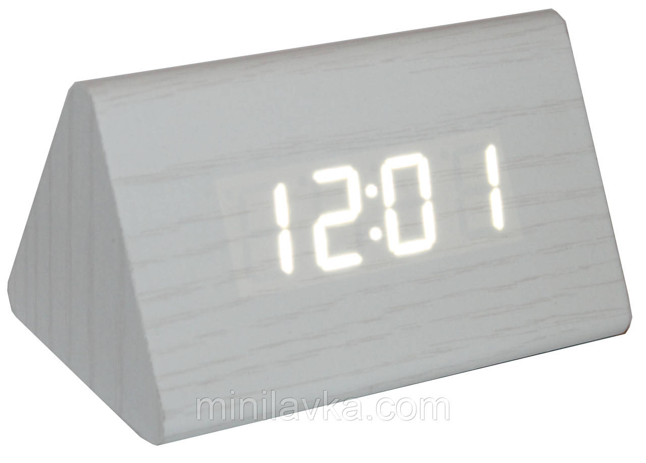 Настольные часы с будильником (стилизовано под брусок дерева) VST-864-6 белые символы