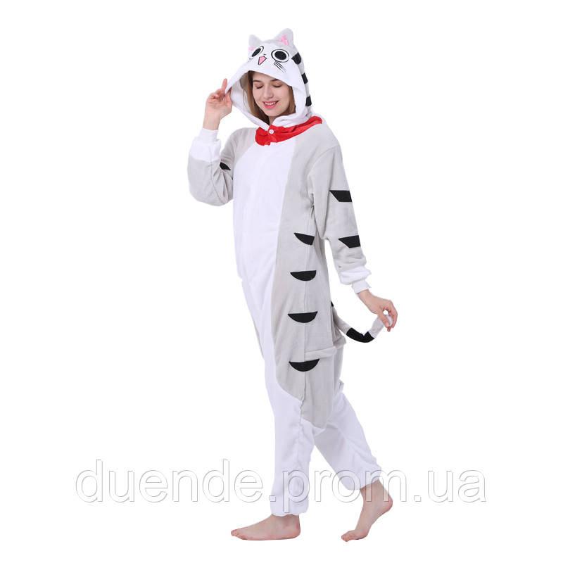 Кигуруми пижама Серый кот, кигуруми Серый кот для взрослых / Kig - 0009