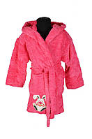 Теплый детский халат розового цвета для девочек от 5 до 12 лет