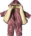 Зимовий комбінезон на дівчинку ріст 92 1,5-2 роки для малюків дітей дитячий роздільний пудровий рожевий, фото 2