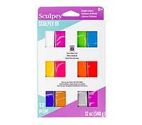 Набор полимерной глины Скалпи-3, Яркие цвета, 12шт по 28г, 340г Sculpey-3/Sculpey III Brights