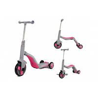 Дитячий самокат-велобіг від-велосипед для дітей від 3-х років SC20111 3 в 1, зі знімними педалями, рожевий