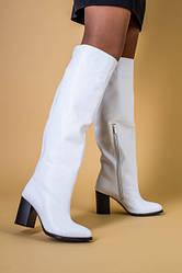 Белые кожаные зимние сапоги на каблуке, 34