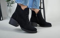 Ботинки женские замшевые черные на каблуке зимние