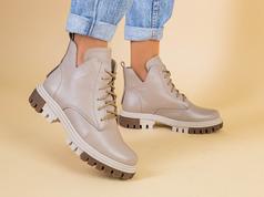 Ботинки женские кожаные бежевого цвета на светлой подошве, деми