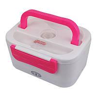 Электрический ланч бокс с подогревом от прикуривателя Electric Lunch Box 1.05 л Бело-розовый hi-1, КОД: