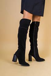 Ботфорты женские замшевые черные на каблуке зимние