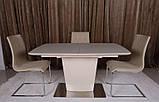 Обеденный стол CHICAGO (Чикаго) 140/185*90 капучино матовое стекло Nicolas (бесплатная доставка), фото 3