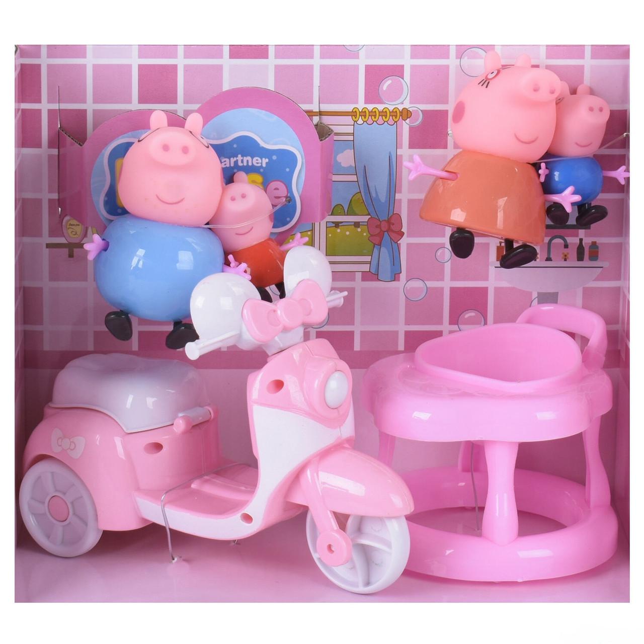 Игровой набор Мотоцикл семьи Свинки  4 фигурки стульчик для кормления