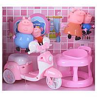 Игровой набор Мотоцикл семьи Свинки  4 фигурки стульчик для кормления, фото 1