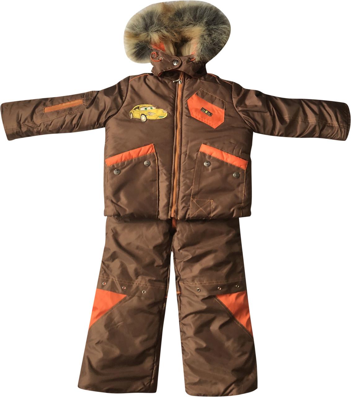 Зимовий комбінезон на хлопчика зріст 104 3-4 роки для дітей дитячий роздільний на синтепоні коричневий