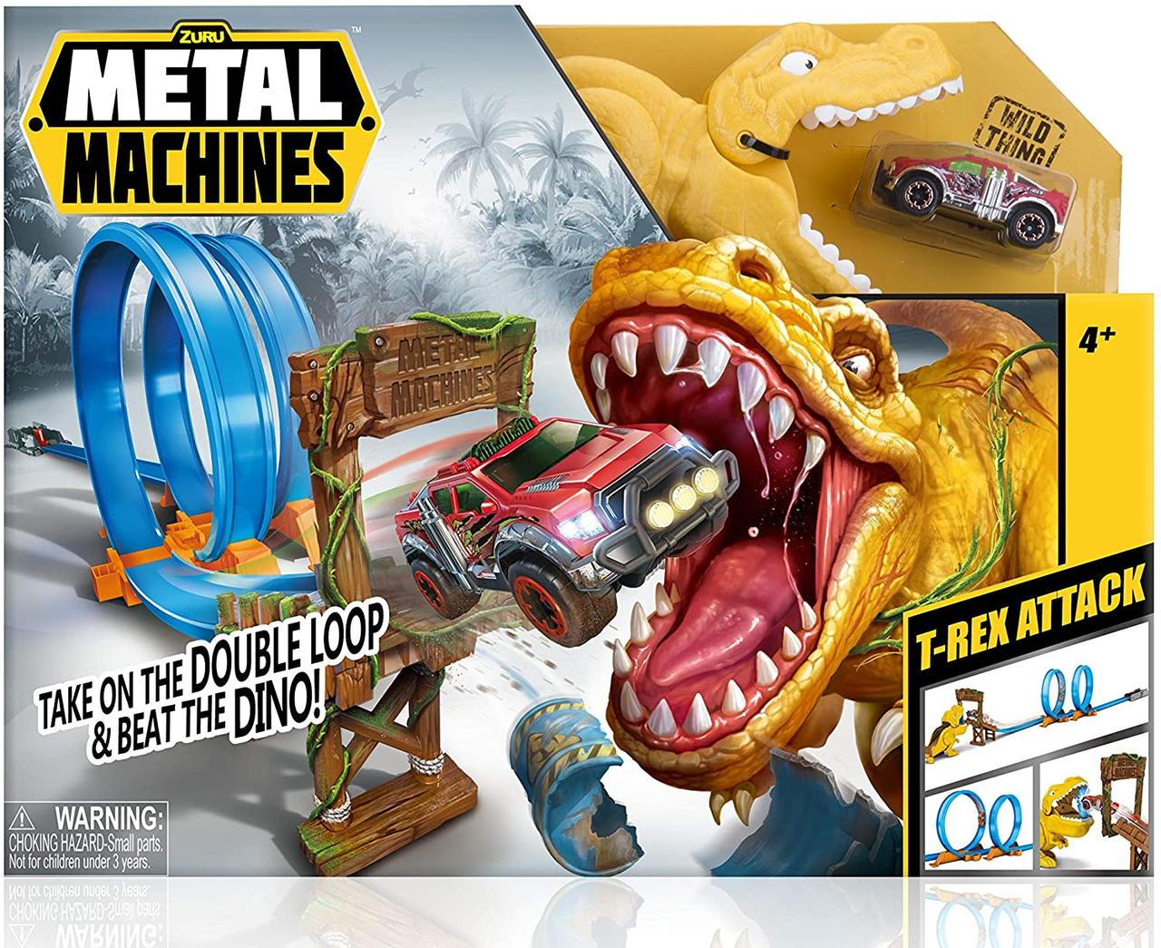 Игровой набор Автотрек Metal Machines T-Rex Attack Building Trackset