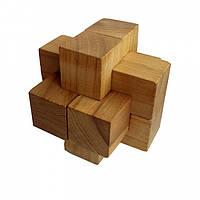 Деревянная головоломка Круть Верть Крест Простой 7х7х7 см nevg-0018, КОД: 119478