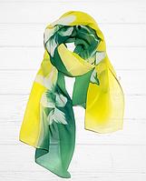 Шарф Диана, шифон, 160*50 см, желтый-зеленый