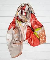 Шелковый шарф Кармелия, 180*90 см, бежевый/коралловый