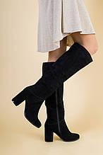 Женские зимние сапоги с обтянутым каблуком