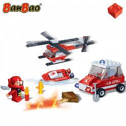 Конструктор BANBAO 8129 пожежний транспорт, 108 дет., фігурка, кор., 23-15-5 см