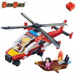 Конструктор BANBAO 7107 пожежний гелікоптер, човен, фігурки, 191 дет., кор., 33-24-7 см