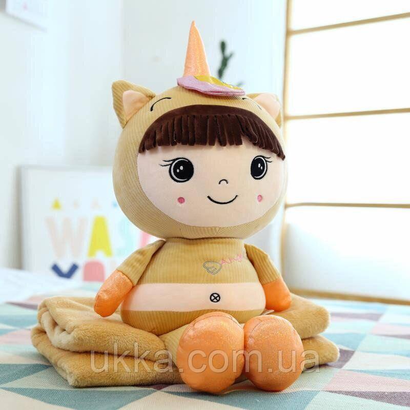 Игрушка плед подушка Кукла беж