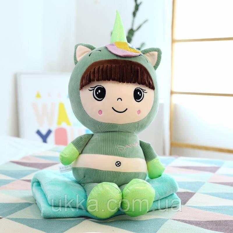 Игрушка плед подушка Кукла зеленая