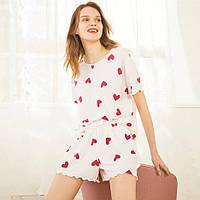 Пижама женская из двух предметов, костюм. Комплект из футболки и шортов для дома, сна (белая) M