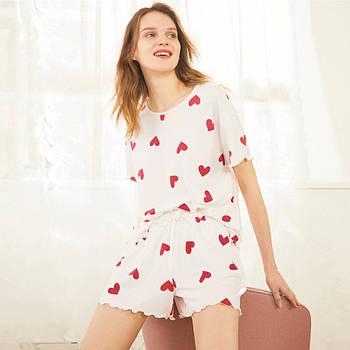 Піжама жіноча з двох предметів, костюм. Комплект з футболки та шорти для дому, сну (біла) M