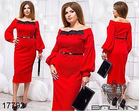 Жіноче плаття, пояс в комплекті Тканина: стільники Розміри: 48,50,52,54 Колір: червоний, електрик.