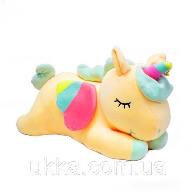 Игрушка подушка Единорожка желтая с пледом