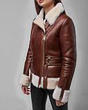 Дубленка женская из натуральной овчины коричневая авиатор. Турция, фото 3