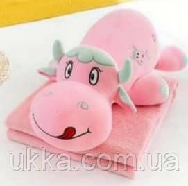 Игрушка подушка плед Бычок розовый