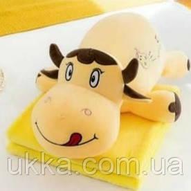 Игрушка подушка плед Бычок желтый