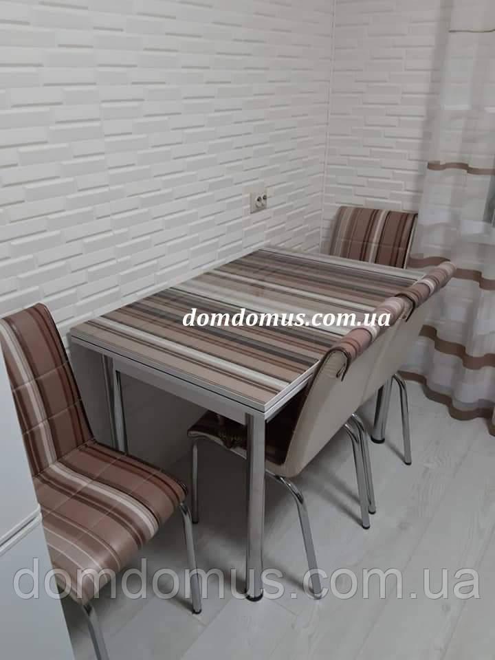 """Комплект обідній меблів """"Moka"""" (стіл ДСП, гартоване скло + 4 стільця) Mobilgen, Туреччина"""