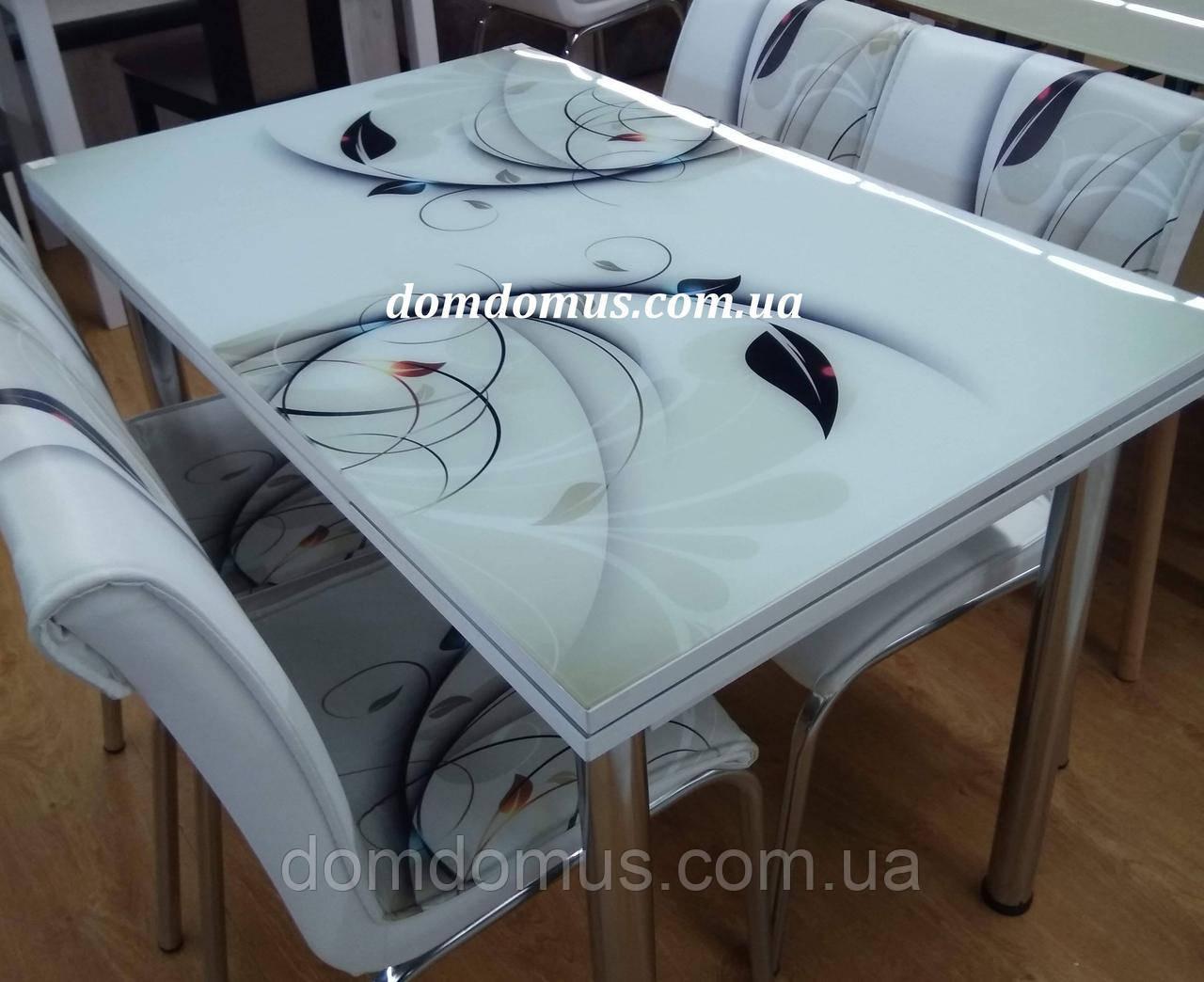 """Стіл скляний розкладний """"Гілочка"""" (стіл ДСП, гартоване скло) Mobilgen, Туреччина"""
