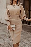 Женское красивое платье, стильное платье по колено, облегающее платье из трикотажа-рубчик