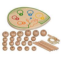 Игрушки из дерева Мир деревянных игрушек сортер шнуровка Гусеница Д411, КОД: 2441110