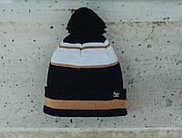 Мужская шапка Staff black & white & beige line, фото 1
