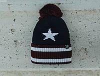 Мужская шапка Staff navy & bordo pattern, фото 1