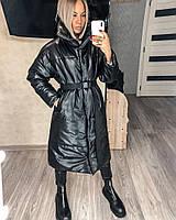 Женское кожаное пальто, зимнее женское пальто из эко-кожи, длинное пальто с высоким воротником
