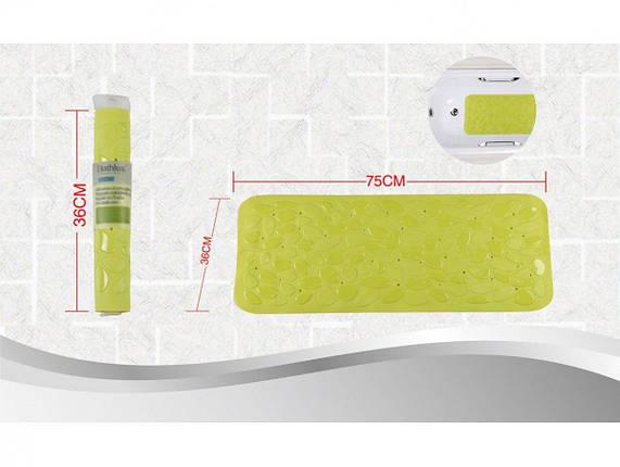 Коврик в ванную комнату антискользящий резиновый 36х75 см Bathlux Green Leaves 40246, фото 2