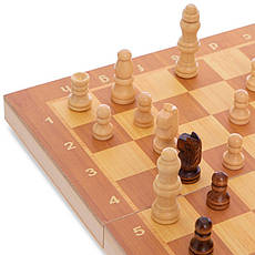 Шахматы, шашки, нарды 3 в 1 деревянные (29x29см) W7722, фото 2