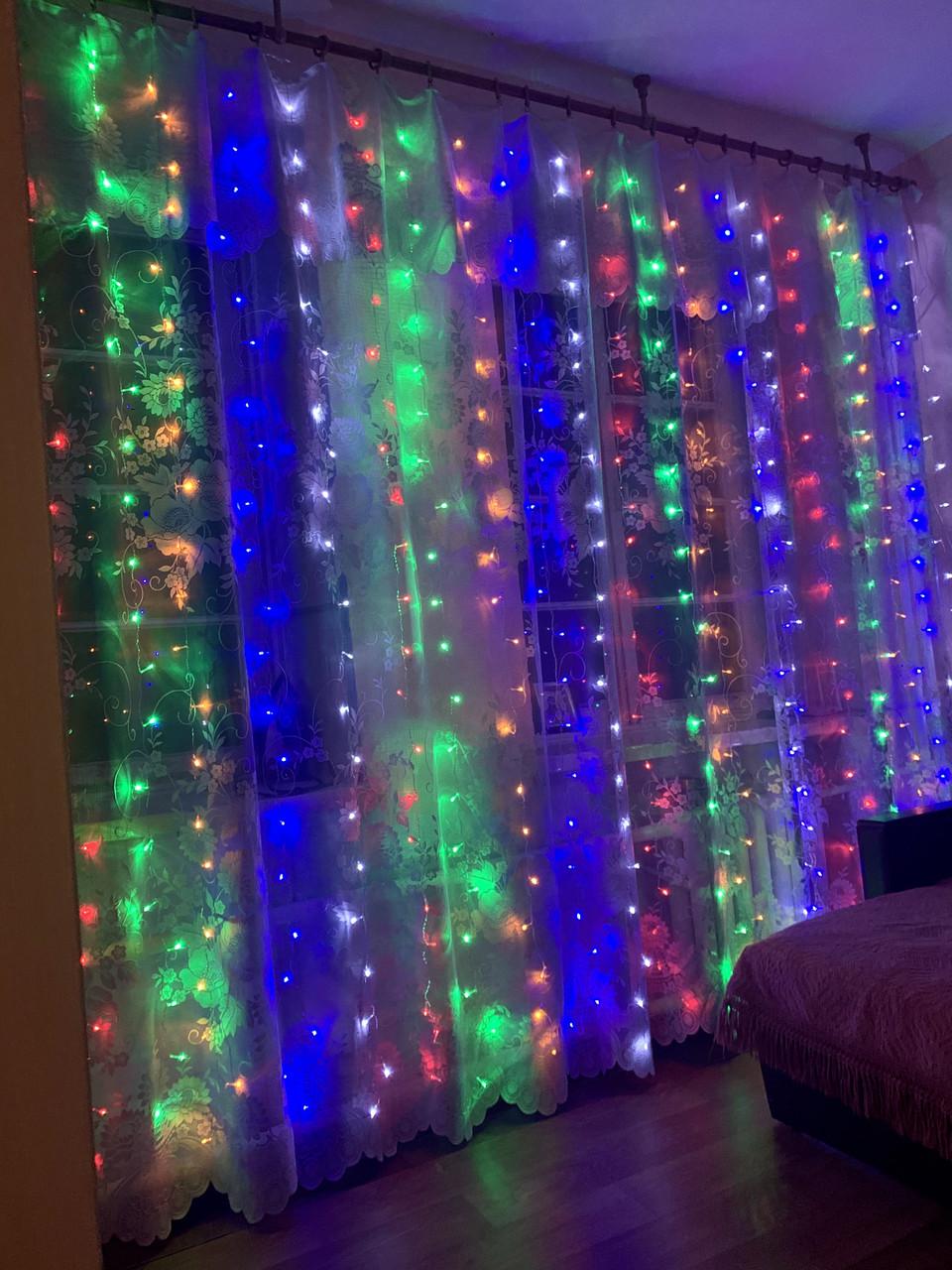 Гирлянда Штора светодиодная 3м \ 2.8м разноцветный \ мульти