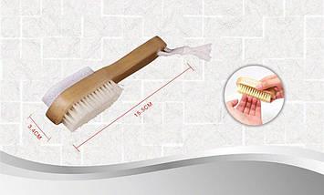 Щетка банная двусторонняя с натуральным ворсом 3.4х15.5 см Bathlux 90514, фото 3