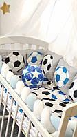 """Детская постель в кроватку мальчику """"Футбол"""" с защитой и балдахином"""